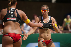 04.07.2013, Lake Szelag, Stare Jablonki, POL, FIVB Beach Volleyball Weltmeisterschaft, im Bild Victoria Bieneck (#2 GER), Julia Grossner (#1 GER), // during the FIVB Beach Volleyball World Championships at the Lake Szelag, Stare Jablonki, Poland on 2013/07/04. EXPA Pictures © 2013, PhotoCredit: EXPA/ Eibner/ Kurth ***** ATTENTION - OUT OF GER *****