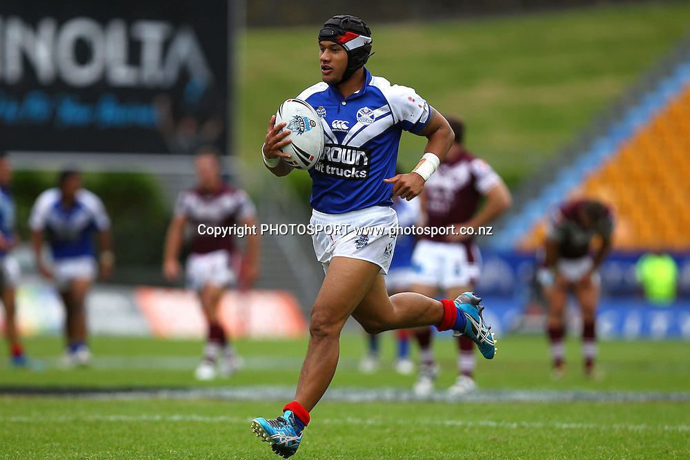Vulcans' Pita Godinet runs in for a try. New South Wales Cup Rugby League, Auckland Vulcans v Manly Sea Eagles, Mt Smart Stadium, Auckland, New Zealand. Saturday 24th March 2012. Photo: Anthony Au-Yeung / photosport.co.nz