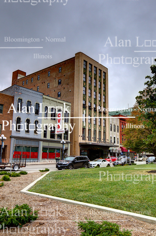 McLean County Illinois monuments and landmarks<br /> <br /> Art Deco style Ensenberger Building on the west side of the Downtown Square in Bloomington IL.<br /> <br /> High Dynamic Range (HDR) processing applied.