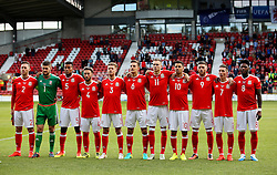 Wales U21 players line up for the National Anthem  - Mandatory by-line: Matt McNulty/JMP - 02/09/2016 - FOOTBALL - The Racecourse Ground - Wrexham, United Kingdom - Wales v Denmark - UEFA Euro 2017 U21 qualifying round