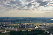 Nederland, Flevoland, Gemeente Almere, 27-08-2013; zicht op Almere-Poort. Aan de horizon het Stadshart, huizen tussen het Cascadepad, Pirre de Coubertinlaan en de Poortdreef.<br /> View on new constructed district Almere-Poort.<br /> luchtfoto (toeslag op standaard tarieven);<br /> aerial photo (additional fee required);<br /> copyright foto/photo Siebe Swart.