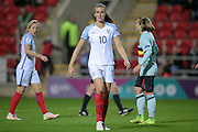 Jill Scott (England), scorer of England's equaliser, 1-1 during the Euro 2017 qualifier between England Ladies and Belgium Ladies at the New York Stadium, Rotherham, England on 8 April 2016. Photo by Mark P Doherty.