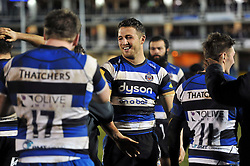 Sam Burgess of Bath Rugby is all smiles after his first ever game as a rugby union forward - Photo mandatory by-line: Patrick Khachfe/JMP - Mobile: 07966 386802 22/12/2014 - SPORT - RUGBY UNION - Bath - Recreation Ground - Bath United v London Irish A - Aviva A-League