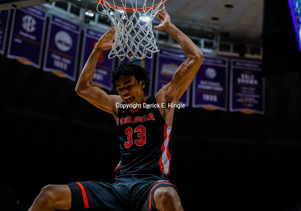 Jan 16, 2018; Baton Rouge, LA, USA; Georgia Bulldogs forward Nicolas Claxton (33) reacts after a dunk against the LSU Tigers during the first half at the Pete Maravich Assembly Center. Mandatory Credit: Derick E. Hingle-USA TODAY Sports