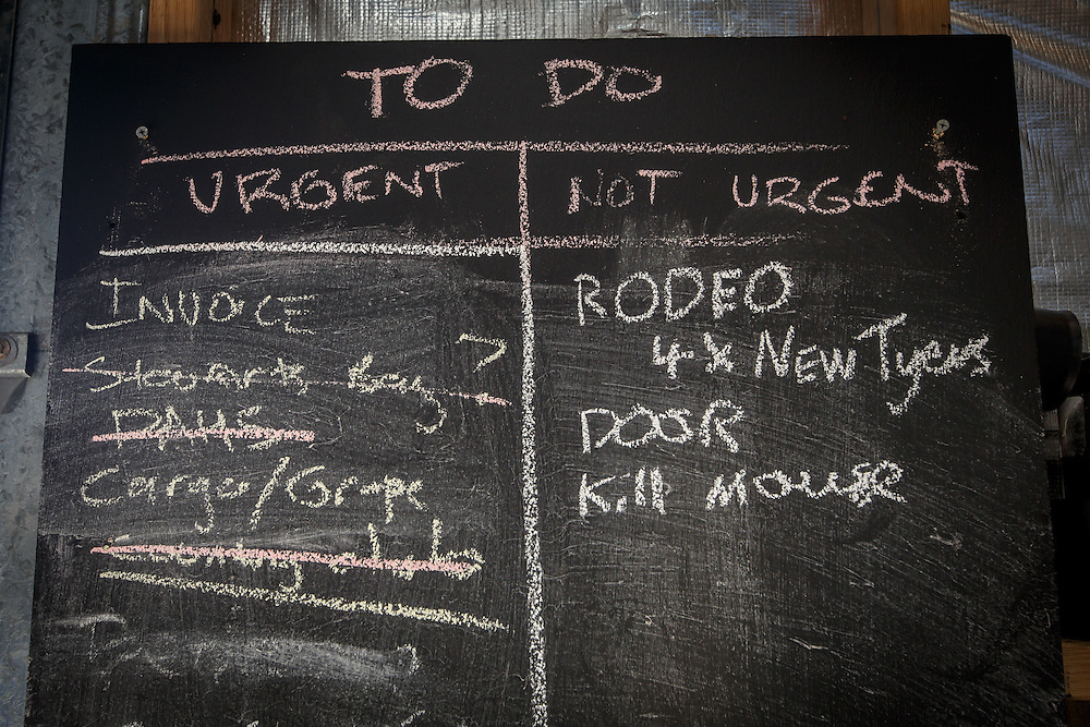 "The ""To Do"" list at McHenry Distillery in Port Arthur, Tasmania, August 25, 2015. Gary He/DRAMBOX MEDIA LIBRARY"