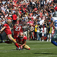 San Francisco 49ers kicker David Akers (2)during an NFL football game between the Dallas Cowboys and the San Francisco 49ers at Candlestick Park on Sunday, Sept. 18, 2011 in San Francisco, CA. (Photo/Alex Menendez)