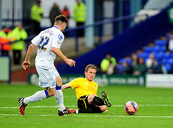 Bristol Rovers' Lee Mansell wins a tackle from Tranmere Rovers's Steven Jennings - Photo mandatory by-line: Neil Brookman/JMP - Mobile: 07966 386802 - 08/11/2014 - SPORT - Football - Birkenhead - Prenton Park - Tranmere Rovers v Bristol Rovers - FA Cup - Round One