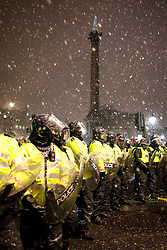 © under license to London News Pictures. 30/11/2010: Students  in London continue to protest against cutbacks and the coalition government's proposed rise in tuition fees. The protest went on until the evening, despite the low temperature and snow