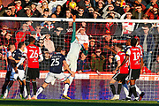 Brentford's Goalkeeper Daniel Bentley tips over during the EFL Sky Bet Championship match between Brentford and Millwall at Griffin Park, London, England on 3 November 2018.