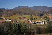 Morning sun illuminates the Mountain Research Station and farms in Haywood County.