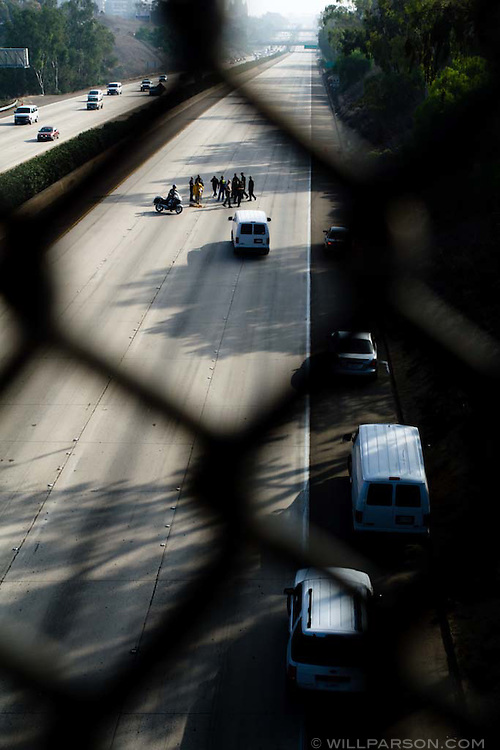 A suspected pipe bomb found on an overpass caused Interstate 5 in San Diego to be closed for several hours on November 2, 2007.