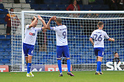 Bury defender Eoghan O'Connell (6) and Bury striker Jermaine Beckford (9) celebrate during the EFL Sky Bet League 1 match between Bury and Bradford City at the Energy Check Stadium at Gigg Lane, Bury, England on 14 October 2017. Photo by Richard Holmes.