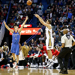 Feb 25, 2016; New Orleans, LA, USA; New Orleans Pelicans forward Ryan Anderson (33) shoots over Oklahoma City Thunder forward Kyle Singler (5) during the second quarter of a game at Smoothie King Center. Mandatory Credit: Derick E. Hingle-USA TODAY Sports