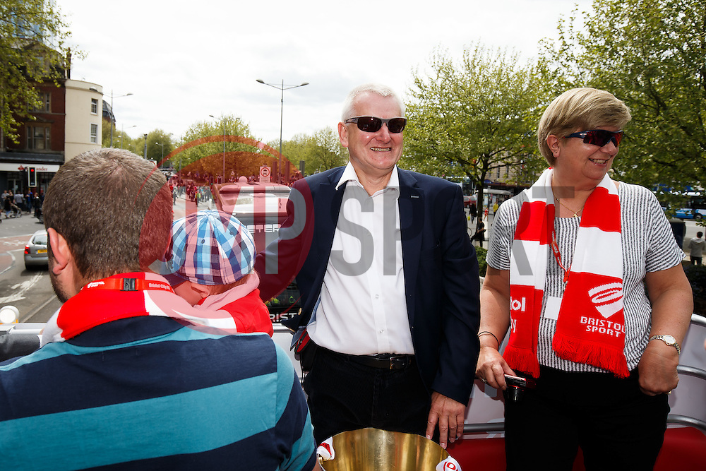 Majority Shareholder Steve Lansdown and wife Maggie during the Bristol City open top bus parade to celebrate winning both the League 1 and Johnstone's Paint Trophy titles this season and promotion to the Championship - Photo mandatory by-line: Rogan Thomson/JMP - 07966 386802 - 04/05/2015 - SPORT - FOOTBALL - Bristol, England - Bristol City Bus Parade.