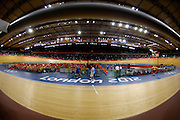 UK, August 6 2012: Fisheye view of the velodrome track from row 1 on Day 10 of the London 2012 Olympic Games. Copyright 2012 Peter Horrell.