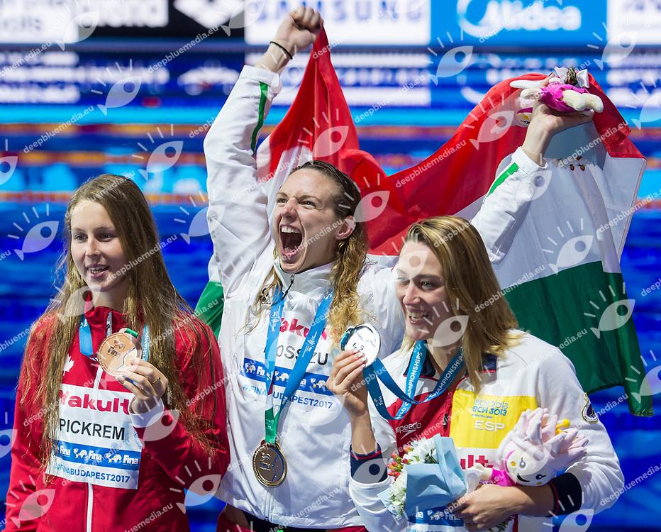 PICKREM Sydney CAN Bronze Medal <br /> HOSSZU Katinka HUN Gold Medal <br /> BELMONTE Mireia ESP Silver Medal <br /> Women's 400m Individual Medley <br /> Swimming  <br /> 30/07/2017 <br /> XVII FINA World Championships Aquatics<br /> Duna Arena Budapest Hungary <br /> Photo Andrea Staccioli/Deepbluemedia/Insidefoto