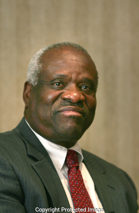 Supreme Court Justice Clarence Thomas  speaks to a conference to celebrate Black Colleges and Universities Week in Washington, DC on September 9, 2008.  Photograph:Dennis Brack