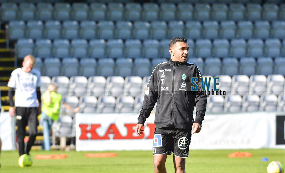 2018-05-05 | J&ouml;nk&ouml;ping, Sweden: IK Brage (21) Jalid Kerkich Amar during warmup before the game between J&ouml;nk&ouml;pings S&ouml;dra and IK Brage at Stadsparksvallen ( Photo by: Marcus Vilson | Swe Press Photo )<br /> <br /> Keywords: Stadsparksvallen, J&ouml;nk&ouml;ping, Football, Superettan, J&ouml;nk&ouml;pings S&ouml;dra, IK Brage, Jalid Kerkich