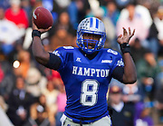 "Hampton quarterback David Legree passed for only 75 yards in their 23 - 18 ""Homecoming"" loss to Bethune-Cookman at Armstrong Stadium in Hampton, Virginia.  (Photo by Mark W. Sutton)"