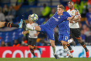 Chelsea midfielder Jorginho (5) goes in for a challenge during the Champions League match between Chelsea and Valencia CF at Stamford Bridge, London, England on 17 September 2019.