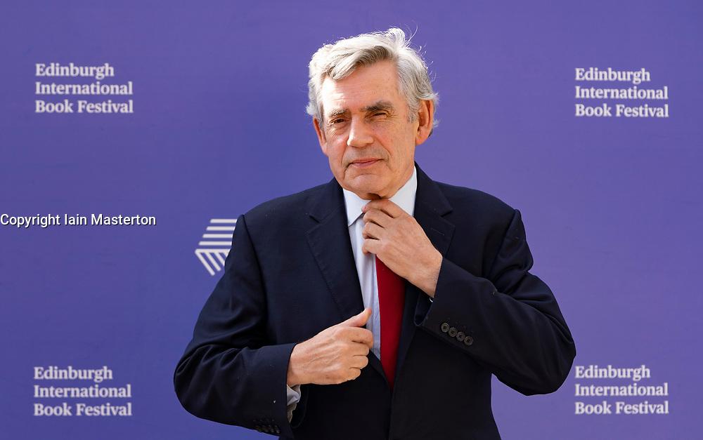 Edinburgh, Scotland, UK. 26 August 2019. Gordon Brown visits the Edinburgh International Book Festival.  Iain Masterton/Alamy Live News.