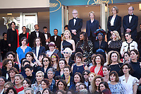 Jury head Cate Blanchett and director Agnès Varda reads a statement on the steps of the red carpet with 82 international key women players of the film industry to highlight the lack of female filmmakers honored throughout the history of the festival at the Girls Of The Sun (Les Filles Du Soleil) gala screening at the 71st Cannes Film Festival, Saturday 12th May 2018, Cannes, France. Photo credit: Doreen Kennedy