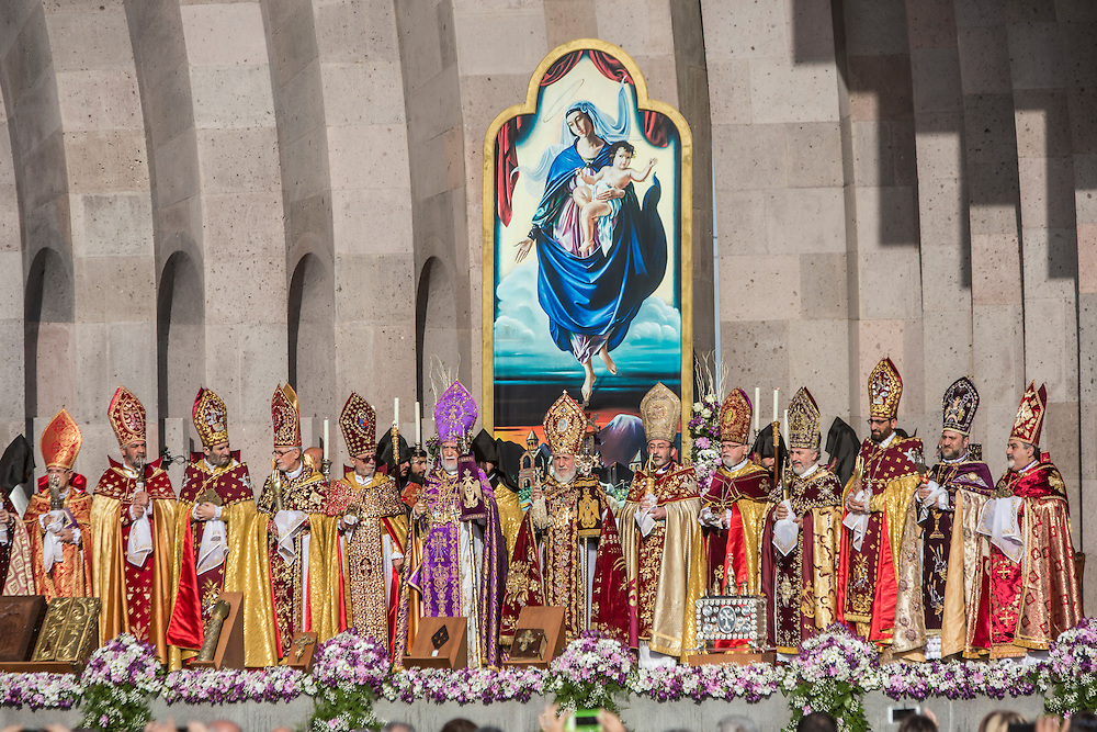VAGHARSHAPAT, ARMENIA - APRIL 23: Armenian Apostolic Church leaders conduct a canonization ceremony for victims of the Armenian genocide at the Mother See of Holy Etchmiadzin, a complex that serves as the administrative headquarters of the Armenian Apostolic Church, on April 23, 2015 in Vagharshapat, Armenia. Tomorrow will mark the one hundredth anniversary of events generally considered to be the start of a campaign of genocide against minority ethnic Armenians living in present-day eastern Turkey by the Ottoman government over fears of their allegiance during World War I. (Photo by Brendan Hoffman/Getty Images) *** Local Caption ***