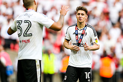 Free to use courtesy of Sky Bet. Tom Cairney runs to Aleksandar Mitrovic as Fulham celebrate winning the game 0-1 to win the Sky Bet Championship Play-Off Final and secure Promotion to the Premier League - Rogan/JMP - 26/05/2018 - FOOTBALL - Wembley Stadium - London, England - Aston Villa v Fulham - Sky Bet Championship Play-Off Final.