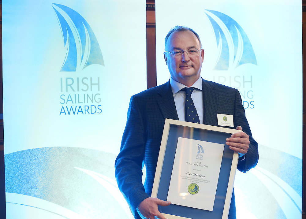 REPRO FREE***PRESS RELEASE NO REPRODUCTION FEE***<br /> Irish Sailing Awards, Royal College of Surgeons, Stephen's Green, Dublin 4/2/2016<br /> National Yacht Club sailor Liam Shanahan was named the 2015 Irish Sailor of the Year today at the Irish Sailing Awards in Dublin - Shanahan had a remarkable year, including victory in the Dun Laoghaire to Dingle race in June on his boat Ruth with two miles to spare.<br /> Kilkenny's Doug Elmes and Malahide's Colin O'Sullivan jointly took home the Irish Sailing Association (ISA) Youth Sailor of the Year award. The Howth Yacht Club sailors were hotly tipped following their recent Bronze medal success at the 2015 Youth World Championships in Malaysia, where they took Ireland's first doublehanded youth worlds medal in 19 years.<br /> The Mitsubishi Motors Sailing Club of the Year award was presented to the Royal Irish Yacht Club in honour of their success at local, national and international level.<br /> Mullingar Sailing Club took home the ISA Training Centre of the Year award, having been nominated as winners of the western-region Training Centre of the Year.<br /> Pictured is Liam Shanahan, 2015 Irish Sailor of the Year<br /> Mandatory Credit ©INPHO/Cathal Noonan