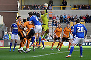 Wolverhampton Wanderers goalkeeper Carl Ikeme claims a cross during the Sky Bet Championship match between Wolverhampton Wanderers and Ipswich Town at Molineux, Wolverhampton, England on 2 April 2016. Photo by Alan Franklin.