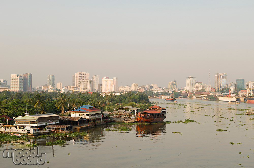 City Skyline Along River