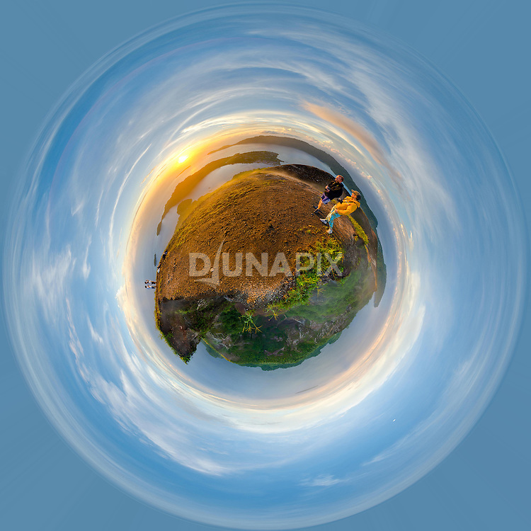 "A ""little planet"" projection of a 360-degree panorama from the summit of Gunung Api volcano, Banda Islands, Maluku. Pulau Run -- the distant island at 5 o'clock in this image -- was once traded for Manhattan."