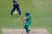 Pakistan womens cricket player Javeria Wadood cuts the ball away during the ICC Women's World Cup match between England and Pakistan at the Fischer County Ground, Grace Road, Leicester, United Kingdom on 27 June 2017. Photo by Simon Davies.