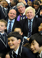© licensed to London News Pictures. LONDON, UK.  09/09/11. (L-R) Toby Young, Thomas Packer, Boris Johnson. London Mayor Boris Johnson joins Chair of Governors Toby Young to officially open the The West London Free School (WLFS). The WLFS is an 11-18 secondary school, which has been set up by a group of parents and teachers in Hammersmith. The school is led by headmaster Thomas Packer . Mandatory Credit Stephen Simpson/LNP