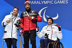 FRANCOIS_Frederic, OATWAY_Kurt, KURKA_Andrew, ParaSkiAlpin, Para Alpine Skiing, Super G, Podium at PyeongChang2018 Winter Paralympic Games, South Korea.