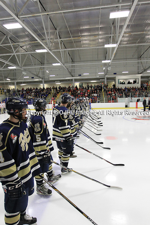 FORT FRANCES, ON - Apr 28, 2015 : Central Canadian Junior &quot;A&quot; Championship, game action between theToronto Patriots and the Fort Francis Lakers, game two of the Dudley Hewitt Cup. Toronto Patriots during opening ceremonies.<br /> (Photo by Tim Bates / OJHL Images)