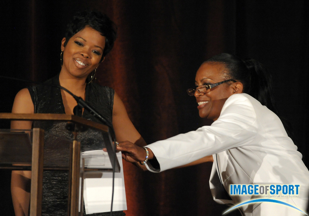 Mar 30, 2012; Austin, TX, USA; Film actress Malinda Williams (left) and Texas Longhorns womens coach Beverly Kearney at the 6th annual Minority Mentorship Symposium at the AT&T Executive Education and Conference Center.