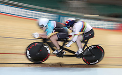 Sophie Thornhill (right) with pilot Helen Scott on their way to winning during the Paracycling BVI Time Trial, during day one of the HSBC UK National Track Championships at The National Cycling Centre, Manchester.