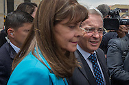 Bogota, Cundinamarca, Colombia - 05.10.2016        <br /> <br /> Former Colombian Praesidtent &Aacute;lvaro Uribe V&eacute;lez on the way for talks with President Santos three days after the failed Colombian peace referendum. 50,22% voted against the negotiated peace contract between the marxist guerrilla FARC and the Colombian government.<br /> <br /> Der ehemalige kolumbianische Praesidtent &Aacute;lvaro Uribe V&eacute;lez auf dem Weg zu Gespraechen mit Praesident Santos drei Tage nach dem gescheiterten kolumbianischen Friedensreferendum. 50,22% stimmten gegen ausgehandelten Friedensvertrag zwischen der marxistischen FARC Guerilla und der kolumbianischen Regierung.<br />  <br /> Photo: Bjoern Kietzmann