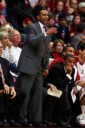Feb 19, 2012; Stanford CA, USA; Stanford Cardinal head coach Johnny Dawkins on the sidelines against the Oregon Ducks during the first half at Maples Pavilion. Oregon defeated Stanford 68-64. Mandatory Credit: Jason O. Watson-US PRESSWIRE