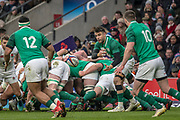 Twickenham, United Kingdom.   Natwest 6 Nations : England vs Ireland. Conor MURRAY, passing the ball from the back of the scrum,at the  RFU Stadium, Twickenham, England, <br /> <br /> Saturday   17.03.18<br /> <br /> [Mandatory Credit; Peter Spurrier/Intersport-images]