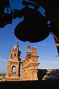 Stork nests on the Iglesia de San Miguel in Alfaro, Rioja, Spain.