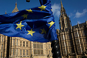 The stars of the EU flag is tangled on a lamp post near the Houses of Parliament in Westminster, seat of government and power of the United Kingdom during Brexit negotiations with Brussels, on 23rd November 2017, in London England.