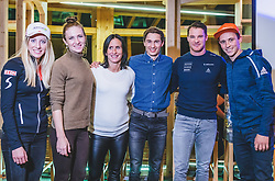 22.10.2018, Olympia Kongress Zentrum, Seefeld, AUT, Forum Nordicum 2018, im Bild Teresa Stadlober (AUT), Darja Domratschewa (BLR), Marit Bjoergen (NOR), Kamil Stoch (POL), Dario Cologna (SUI), Eric Frenzel (GER) // Teresa Stadlober (AUT), Darja Domratschewa (BLR), Marit Bjoergen (NOR), Kamil Stoch (POL), Dario Cologna (SUI), Eric Frenzel (GER) during the Forum Nordicum 2018 at the Olympic Congress Center in Seefeld, Austria on 2018/10/22. EXPA Pictures © 2018, PhotoCredit: EXPA/ JFK