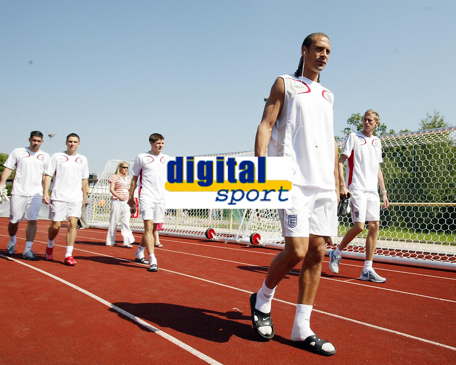 Photo: Chris Ratcliffe.<br />England Training Session. FIFA World Cup 2006. 13/06/2006.<br />Rio Ferdinand arrives for training.