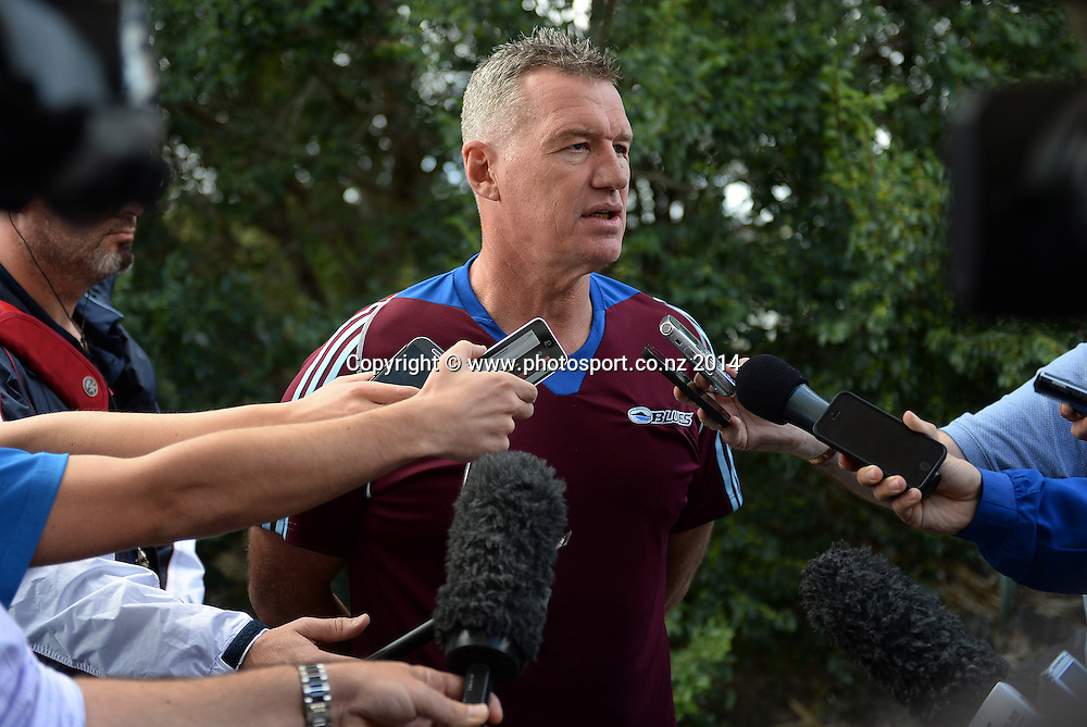 Sir John Kirwan talks to the media about Piri Weepu's medical condition. Blues Super Rugby Training Session, Unitec, Auckland, New Zealand. Thursday 27 March 2014. Photo: Andrew Cornaga/www.Photosport.co.nz