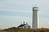 Walney Lighthouse on Walney Island Nature Reserve, Barrow in Furness, Cumbria, Uk