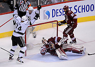 May 13, 2012; Glendale, AZ, USA; Los Angeles Kings left wing Dwight King (74) celebrates after scoring a goal on Phoenix Coyotes goalie Mike Smith (41) in the second period of game one of the Western Conference finals of the 2012 Stanley Cup Playoffs at Jobing.com Arena.  Mandatory Credit: Jennifer Stewart-US PRESSWIRE.