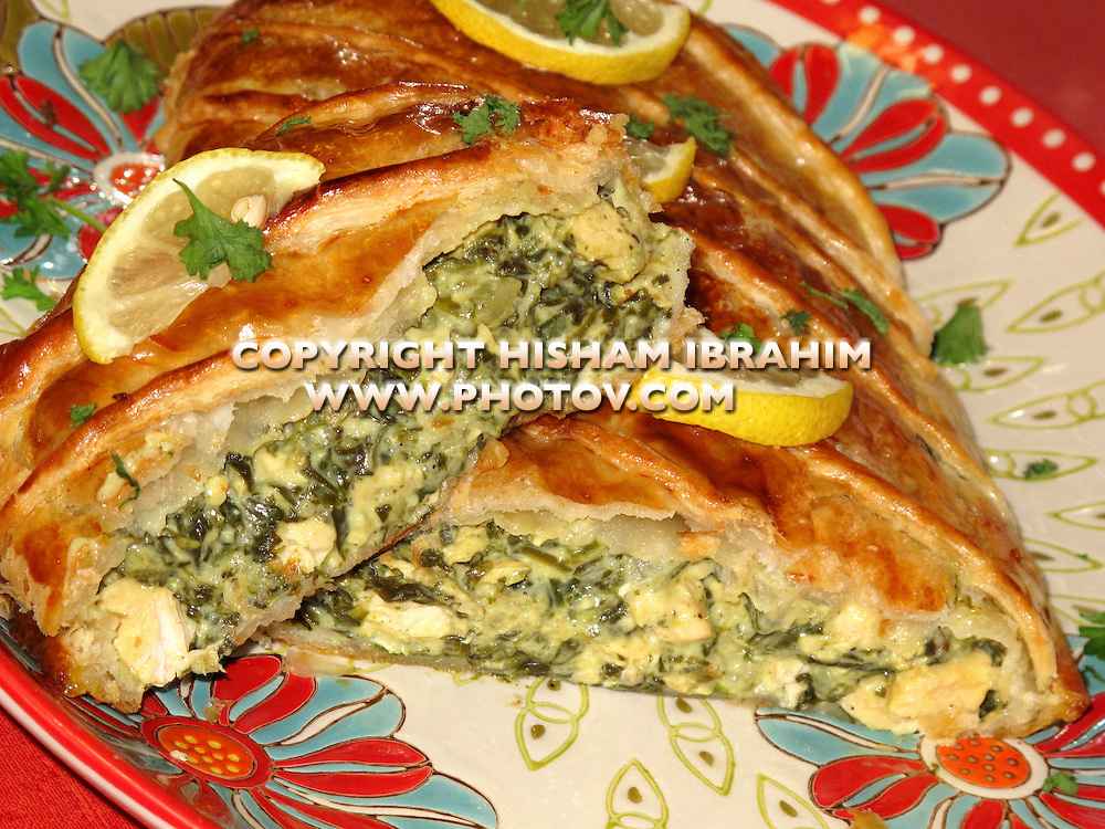 Puff Pastry stuffed with chicken, spinach and feta cheese - Middle Eastern Food.