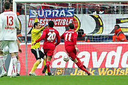 03.04.2010,  Rhein Energie Stadion, Koeln, GER, 1.FBL, FC Koeln vs 1. FC Nuernberg, 28. Spieltag, im Bild: Milivoje Novakovic (Koeln #11) (R) trifft gegen Raphael Schaefer (Torwart Nuernberg) zum 1:0 in de rNachspielzeit   EXPA Pictures © 2011, PhotoCredit: EXPA/ nph/  Mueller       ****** out of GER / SWE / CRO  / BEL ******